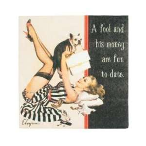 Vintage vixen a fool and his money are fun to date napkins   set of 20