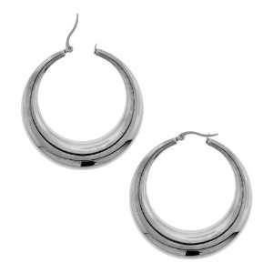Womens Stainless Steel Plain Hoops Earrings 20mm Wide