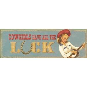 Western COWGIRL LUCK vintage METAL SIGN wall decor Home