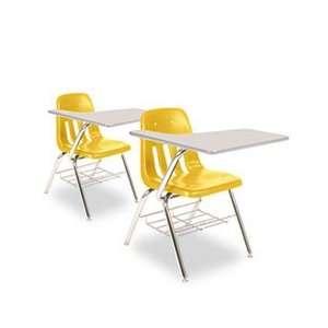 9700 Series Chair Desk, 18 3/4w x 31d x 30 1/2h, Gray Nebula/Squash, 2