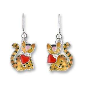 Valentine Heart Kitty Cat Earrings by Zarah Everything