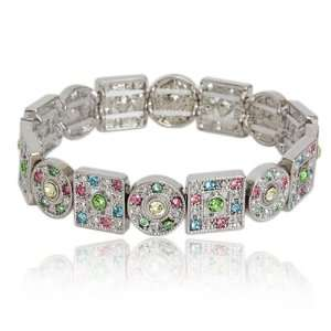 Silver Multi Color Crystal Circle Square Stretch Bangle