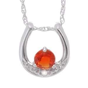 10K White Gold Fire Opal and Diamond Horseshoe Pendant, 16 Jewelry