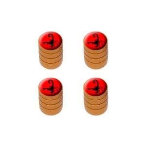 Scorpion Black on Red   Tire Rim Valve Stem Caps   Orange