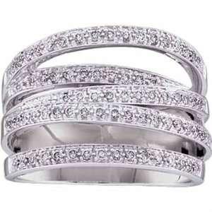 14Kt White Gold Multi Row Diamond Fashion Ring Jewelry Days Jewelry