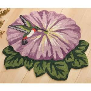 Morning Glory Flower & Hummingbird Hand hooked Floral Rug Spring Home
