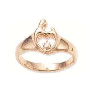 Mother & Child Small Yellow Gold Heart Ring w/Diamond