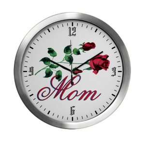 Modern Wall Clock Mom with Roses for Mothers Day