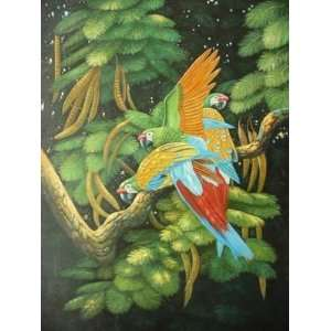 12X16 inch Animal Canvas Art Parrot Family on Branches