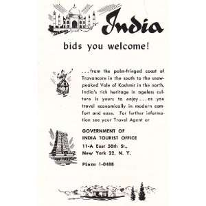 Print Ad 1954 India Bids You Welcome Government of India Books