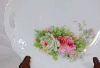 German Three Crown China Lusterware Handled Plate Roses