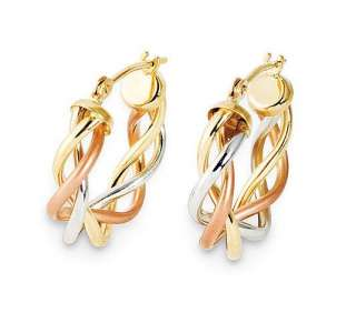 14K Gold Tri color Satin and Polished Braided Hoop Earrings   QVC