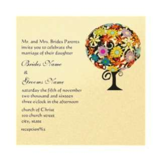 Whimsical Flower & Humming Bird Wedding Invitation from Zazzle