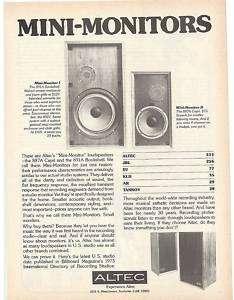 RARE 1974 Altec 887A Capri & 891A Bookshelf Speaker Ad |