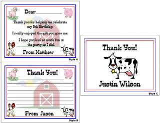 Farm Animals Kid Barn Birthday Party Personalized Thank You Note Cards