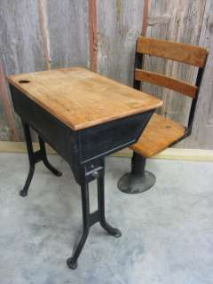 Wooden school desk and chair Old Style Graphic Design Vintage Iron Wooden School Desk Chair Antique Table Stand Old