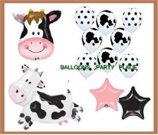 BLACK WHITE cow birthday party baby shower balloons new