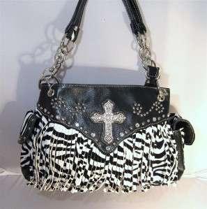Zebra Black White Western Fringe String Rhinestone Cross Bag Purse and