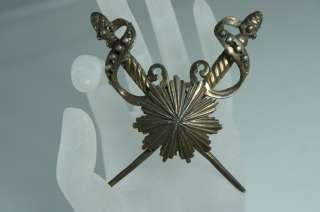 VINTAGE BRONZE MASONIC CROSSED SWORDS BROOCH/PIN