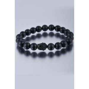 Black Onyx with Black Ox Horn Hand Carved Buddha Bead Inset Bracelet