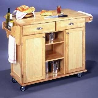 Home Styles Napa Kitchen Island Cart, Solid Hardwood Kitchen Cart, 2
