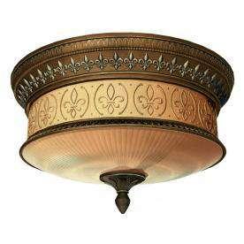 Flush mount Ceiling Light Antique Gold Fleur de Lis 092903258909