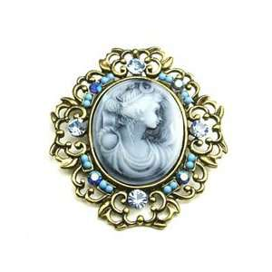 Blue Austrian Rhinestone Lady Cameo Brass Tone Brooch Pin Jewelry