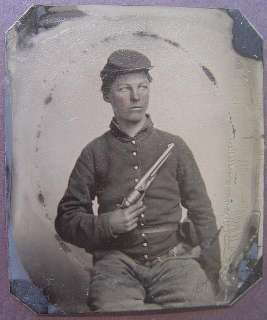soldier in Union uniform with Colt Army Model 1860 revolver