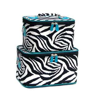 BLUE ZEBRA SET 2 Cosmetic Case Luggage Tote makeup bag