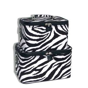BLACK ZEBRA SET 2 Cosmetic Case Luggage Tote makeup bag