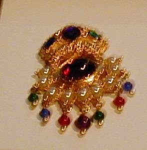 KENNETH JAY LANE GOLD TONE DIMENSIONAL COLORFUL CRYSTAL AND FAUX PEARL