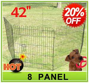 42 8 panel Pet Dog Cat Exercise Pen Playpen Fence Yard Kennel