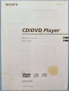 SONY DVP S7700 DVD PLAYER OWNERS MANUAL BIN+FAST SHIP