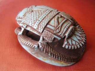 RARE Antique Handmade Amulet Egyptian Beetle Scarab Statue Figurine