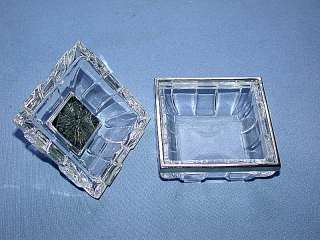Crystal Glass Covered Trinket Box w/ Emerald Set Lid & Silver Trim