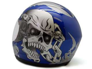 BLUE SKULL CHAIN FULL FACE MOTORCYCLE STREET HELMET ~M