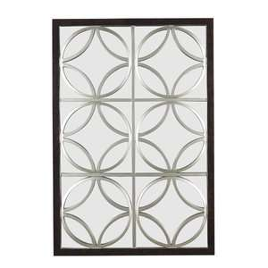 Kenroy Home Gable Wall Mirror in Walnut with Silver Trellis Decor