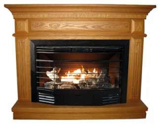 SQFT Oak Mantel Vent Free Dual Fuel Gas Fireplace 013204223403