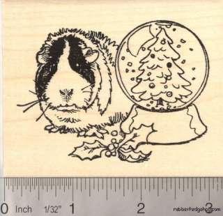 Christmas Guinea Pig w/ Snow Globe Rubber Stamp K12406