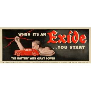 1941 Ad Electric Storage Exide Battery Automobiles Red