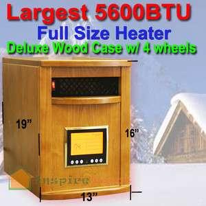 Cabinet OAK 1500W Portable Quartz Infrared Heater w/ wheels 5600BTU