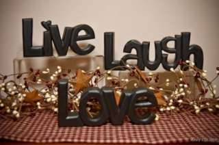 Rustic Brown LIVE LAUGH LOVE WOOD WORD Art Sign Primitive Country home