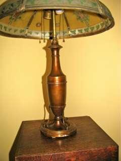 Antique Mission Art Nouveau Reverse Painted Copper Lamp Light Shade