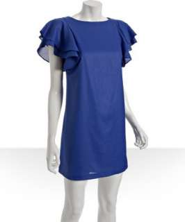 Ali Ro blue beret crewneck flutter sleeve dress