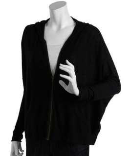 Autumn Cashmere black cashmere zip front dolman sweater