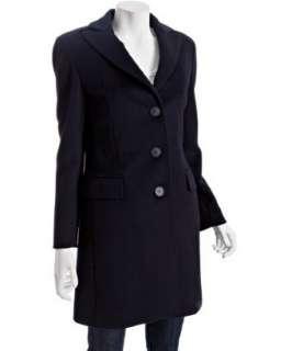 Cinzia Rocca navy wool cashmere button front coat