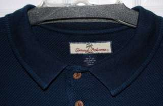 Tommy Bahama SOLID NAVY BLUE Polo Shirt Mens L