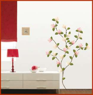 Magnolia Flower Removable Wall Art Decals Peel & stick Decor Stickers