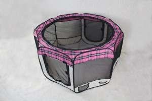 PinkPlaid Pet Dog Cat Tent Puppy Playpen Exercise Pen L 814836015318