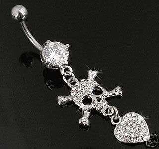 Clear Swarovski Gem Skull Heart Belly Ring Body Jewelry